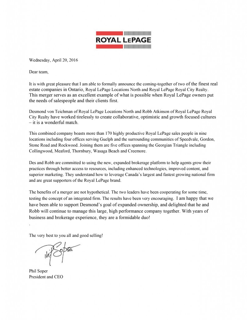 Letter from Phil Soper - April 20 Team - Royal City