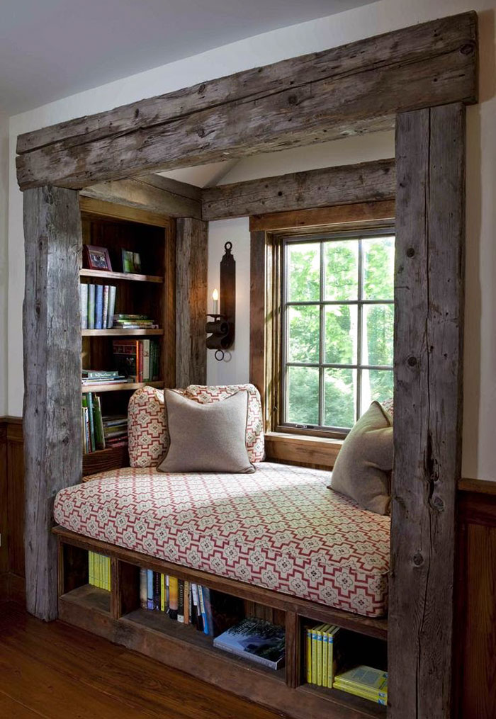 Comfortable and cushy reading nook
