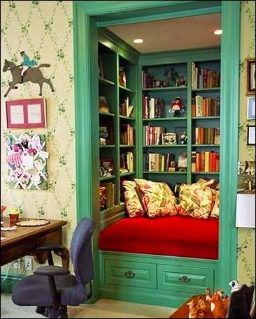 Colourful and cozy reading nook